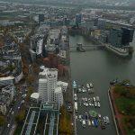 Blick vom Rheinturm auf den Hafen